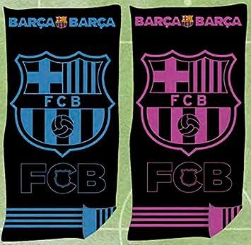 FCB Toalla Playa Oficial FC Barcelona Jaqcuard 100% Algodón 90x170 cms (Disponible en Azul y Rosa) (Rosa): Amazon.es: Hogar