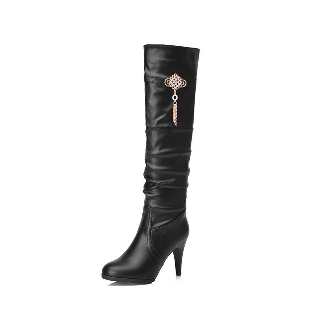 BalaMasa Girls Metal Chain Glass Diamond Stiletto Black Imitated Leather Boots - 5 B(M) US