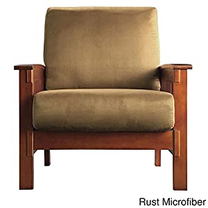 tribecca home hills mission style oak and olive microfiber accent chair