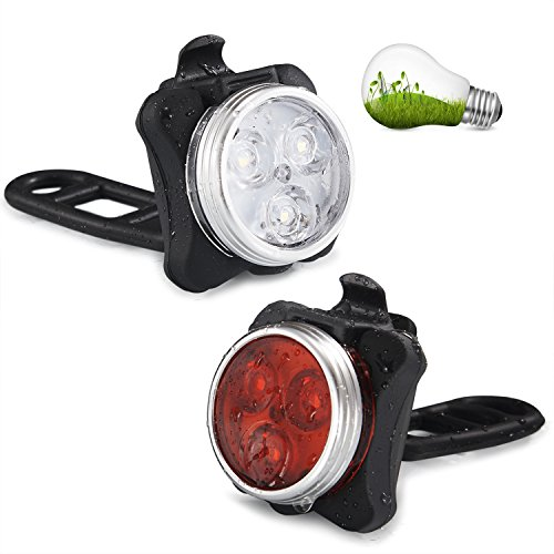 STUOGHX Bike Light, USB Rechargeable Waterproof LED Front and Rear Bicycle Light Set, 4 Light Mode Options, 650mah Lithium Battery (2 USB cables and 2 Strap Included)