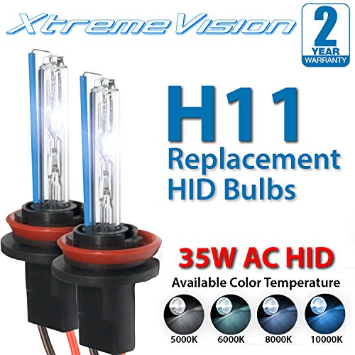XtremeVision AC HID Xenon Replacement Bulbs - H11 10000K - Dark Blue (1 Pair) - 2 Year Warranty ()