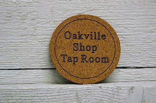 Engraved Coaster Personalized (Cork coaster set of six personalized custom engraved. Great gift, for home bar, restaurant, brewery, homebrewer, kegerator.)
