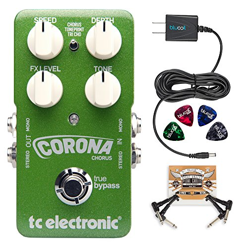 - TC Electronic Corona Chorus Pedal with TonePrint Bundle with Blucoil Power Supply Slim AC/DC Adapter for 9 Volt DC 670mA, 2-Pack of Pedal Patch Cables and 4-Pack of Celluloid Guitar Picks