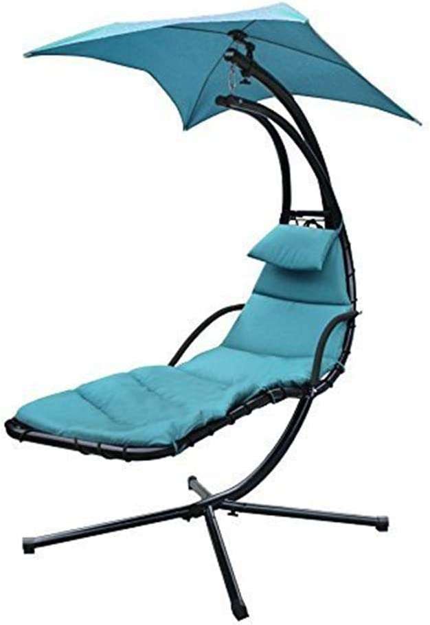 LARRY SHELL Chaise Lounger Silla Colgante ARC Stand Air Porch Swing Hammock Chair w/Canopy Paraguas y Stand, Teal