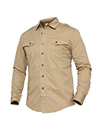 TACVASEN Men's Casual Button Down Breathable Solid Long Sleeve Shirt