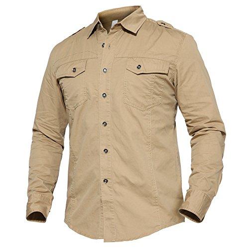 Khaki Shirts Military (TACVASEN Men's Travel Cotton Tactical Battle Army Hiking Cycling Long Sleeve Shirt Khaki)