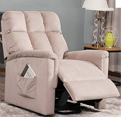 - Power Lift Chair for Elderly Reclining Chair Sofa Electric Recliner Chairs with Remote Control Soft Fabric Lounge (Beige)