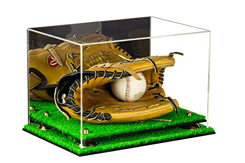 - Deluxe Acrylic Baseball Glove Display Case with Mirror, Gold Risers and Turf Base (A004-GR)
