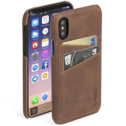 Krusell Wallet Case for Apple iPhone X - Vintage Cognac