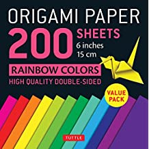 "Origami Paper 200 sheets Rainbow Colors 6"" (15 cm): Tuttle Origami Paper: High-Quality Origami Sheets Printed with 12 Different Colors: Instructions for 8 Projects Included"