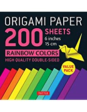 """Origami Paper 200 sheets Rainbow Colors 6"""" (15 cm): Tuttle Origami Paper: High-Quality Double Sided Origami Sheets Printed with 12 Different Designs (Instructions for 6 Projects Included)"""