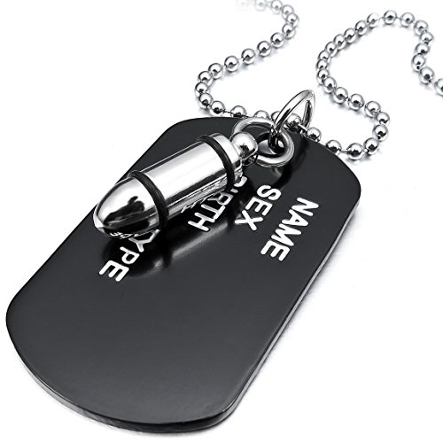 INBLUE Mens Alloy Pendant Necklace Silver Tone Black Bullet Dog Tag Army Name Tribal 27 Inch Chain