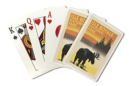 Casino Royale Playing Cards - Isle Royale National Park, Michigan - Moose at Dawn (Playing Card Deck - 52 Card Poker Size with Jokers)