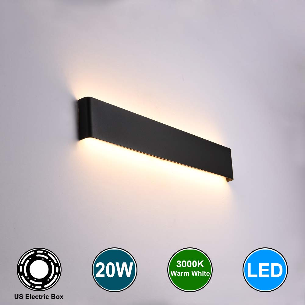 Aipsun 20W/24in Rectangular LED Wall Mount Sconce Modern Horizontal Up and Down Wall Lamp for Indoor Vanity Bar Light Pathway Bedroom Living Room Bathroom Home Lighting Fixtures (Black,Warm White)