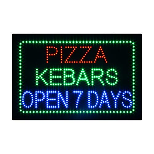 LED Pizza Kebab Open Light Sign Super Bright Electric Advertising Display Board for Pasta Burger Hot Dog Sandwich Grill Hibachi Business Shop Store Window Bedroom 16 x 16 -