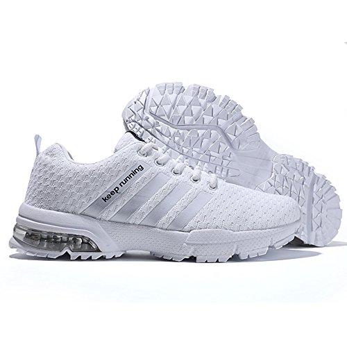 Chaussures pour Blanc Chaussures De Sport Baskets Respirant pour Hommes Mode De Course Hommes MUOU Sneakers qTzSnt6t