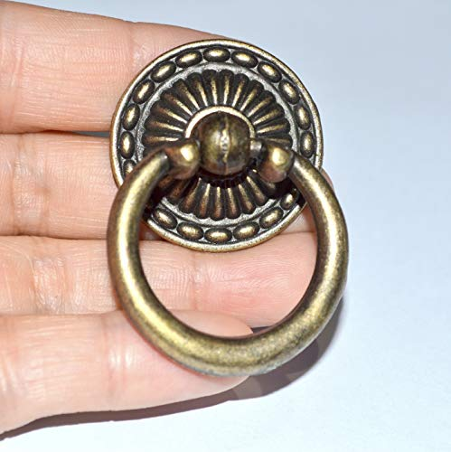 10 Sets Vintage Bronze Knobs Pulls Handles Antique Drawer Pull Ring Single Hole Decorative Hardware with Screws for Furniture Cabinet Cupboard Dresser (Disk Dia: 1-1/4