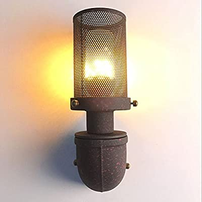 JUNOLUX Rustic Mesh Wall Sconce Industrial Steampunk Lamp Retro Rusty Lighting For Bar Porch Hallway(Bulb Not Included)