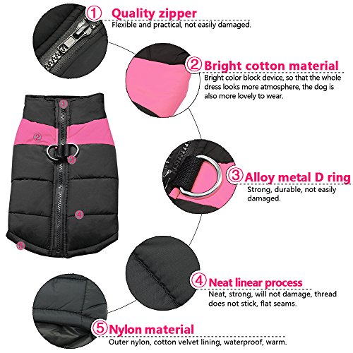 Didog Cold Weather Dog Warm Vest Jacket Coat,Pet Winter Clothes for Small Medium Large Dogs,8, Pink,4XL Size by Didog (Image #3)