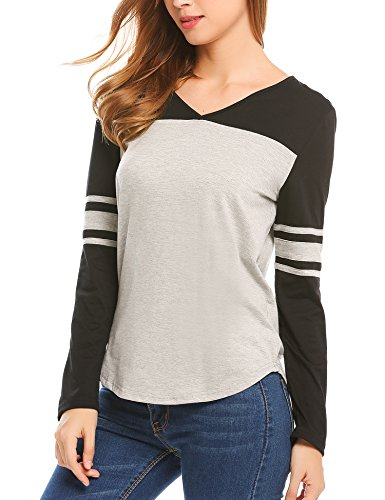 Miageek Women's Striped Raglan Blouse Tops Long Sleeve Baseball T Shirt