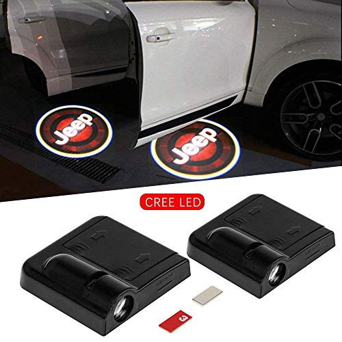 2pc Wireless Drill Free Easy Install Car Door LED Projector Courtesy Welcome Logo Ghost Shadow Light Magnet Sensor for Eagle American Flag Infiniti Cadillac Dooge Jeep (JEEP)