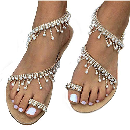 Athlefit Women's Beaded Flat Sandals Pearl Beach Toe Ring Casual Bohemia Summer Sandals Size 9.5 Silvery]()