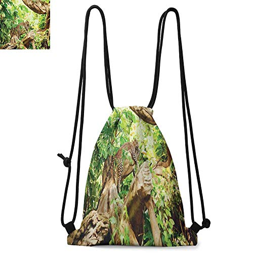 Safari Printed drawstring backpack Leopard on the Branch in Savannah Exotic Macro Tropical Leaf Jungle Wild Nature Art Suitable for school or travel W13.8 x L17.7 Inch Brown Green