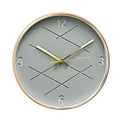 Modern Art District In Craft Design 12 Non-Ticking Sweep Silent Wall Clock with Bronze Finish Frame (Gray Crossover)