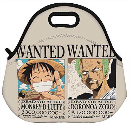 VIPbuy Waterproof 3D Design Women Men Kids Thermal Insulated Neoprene Lunch Bag Tote for School Work Outdoor, Anime One Piece Luffy Zoro (Lady Zoro)