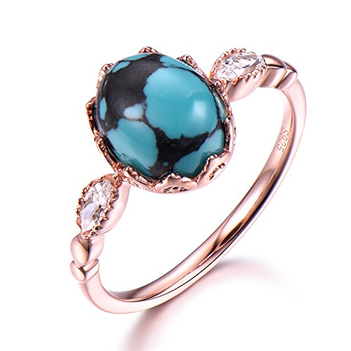 Blue Black Turquoise Engagement Ring Oval Cut 925 Sterling Silver Rose Gold Plated Unique Marquise CZ by Milejewel Turquoise engagement rings