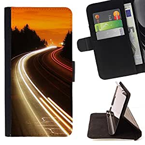 Momo Phone Case / Flip Funda de Cuero Case Cover - Carretera Luces Glow;;;;;;;; - Sony Xperia Z5 5.2 Inch (Not for Z5 Premium 5.5 Inch)