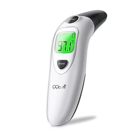 QQCute - Termómetro digital infrarrojo para la frente y el oído (lectura instantánea, temperatura