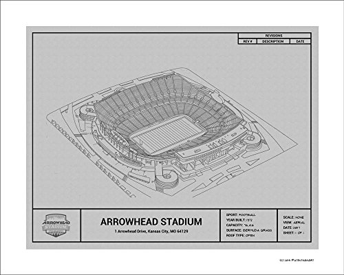 (Kansas City Chiefs Arrowhead Stadium Blueprint Art Gift )