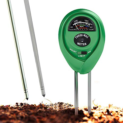 Soil pH Meter, 3-in-1 Soil Test Kit For Moisture, Light & pH, A Must Have For Home And Garden, Lawn, Farm, Plants, Herbs & Gardening Tools, Indoor/Outdoors Plant Care Soil Tester (No Battery Needed) by HealthyWiser