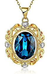 "18k Yellow Gold Plated ""Heart of the Ocean"" Swarovski Elements Crystal Pendant Necklace for Women"