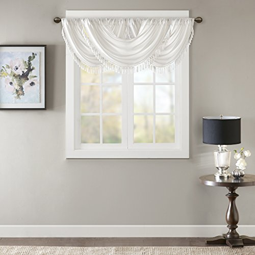 Swags Window Treatments (Madison Park Elena Faux Silk Waterfall Embellished Valance White 38x46)