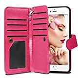 iPhone 6 Plus Case, Vofolen Detachable iPhone 6S Plus Wallet Case Folio Flip PU Leather Protective Shell Magnetic Slim Cover Card Holder Wrist Strap for iPhone 6 Plus 6S Plus 5.5 inch (Rose)