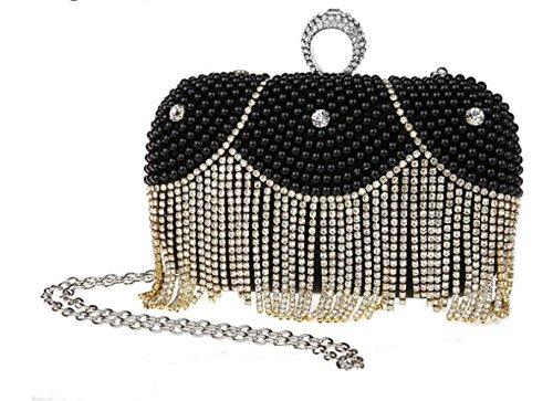 Bag Evening Women Ladies Tassel Bag Party Handbag Banquet Black Clutch Handheld for Wedding Shimmer Pearl Bag fr0qX0Yw