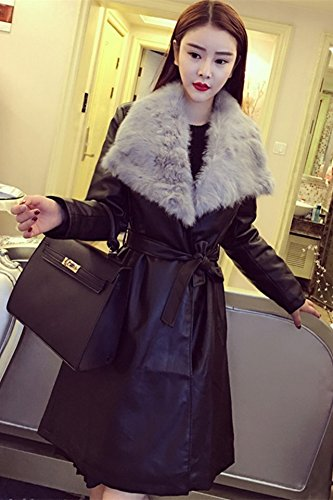 Generic Real_ rabbit fur collar _cashmere_ leather Women girl new winter _real_ fur collar leather jacket long _sections_cashmere_ coat
