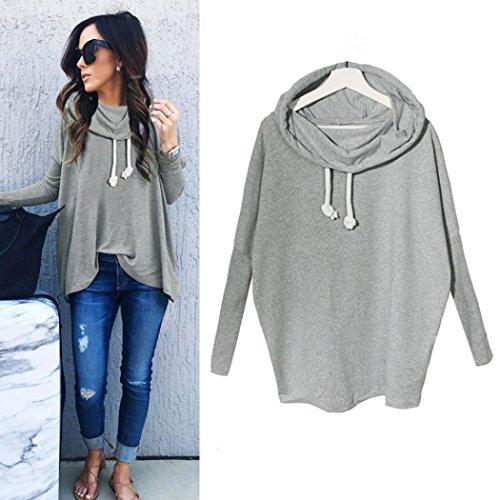 BeautyVan Pullovers Tops, New Fashion Design Women Sweatshirt Bow Neck Long Sleeve Pullovers Tops (XL, Gray)