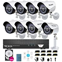 TECBOX CCTV Security Camera System AHD DVR 8 Channel 500GB Hard Drive Preinstalled with 8 HD 720P Outdoor Remote View Motion Detection Surveillance Camera