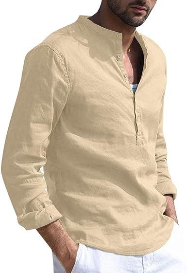 Hombres Casual Manga Corta Camiseta Soltero Botón Abertura Llano v Cuello Camisas Algodón: Amazon.es: Ropa y accesorios