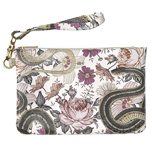 - Lex Altern Makeup Bag 9.5 x 6 inch Cute Colorful Flowers Art Snakes Orange Floral Reptile Design Print Purse Pouch Cosmetic Travel PU Leather Case Toiletry Women Zipper Wristband Girly Accessories