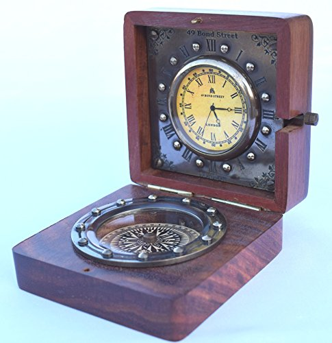 (Twin Star Enterprises Antique Nautical Brass Desk Clock with Compass in Rose Wood Box )