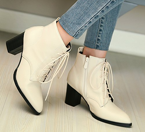 Pointu Bout Cheville Chunky Bottines Femme Mode Beige Aisun Taqwx4gc