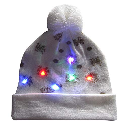 Christmas LED Light-up Knitted Ugly Sweater Holiday Xmas Christmas Beanie,Outsta Soft Warm Xmas Hats Party Decor Merry Christmas Accessory Ornaments (C)