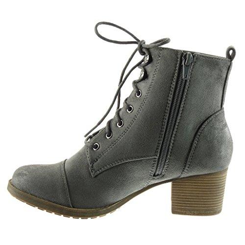 Angkorly - damen Schuhe Stiefeletten - Biker - Reitstiefel - Kavalier - Combat Boots Blockabsatz high heel 5 CM Grau