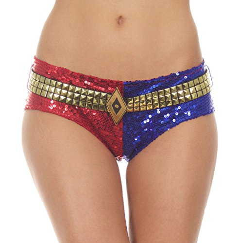 DC Comics Suicide Squad Harley Quinn Deluxe Sequins Panty (Large) Red/Blue]()