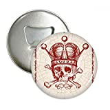 Clubs Red Crown Skeleton Poker Card Pattern Round Bottle Opener Refrigerator Magnet Pins Badge Button Gift 3pcs