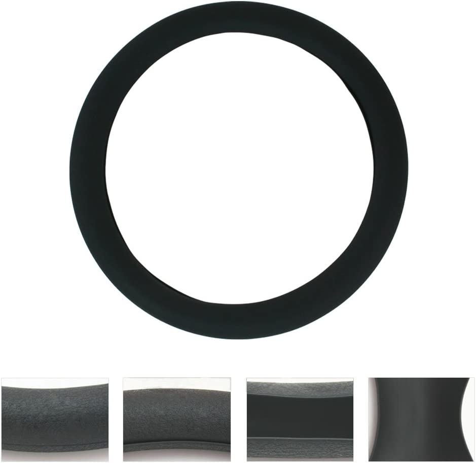 noire Housse de volant de voiture en silicone SWT1200 texture en cuir souple